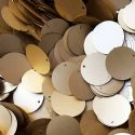 Sequins, Gold colour, Diameter 50mm, 13 pieces, 10g, Disc shape, Sequins are NOT shiny, [CZP575]